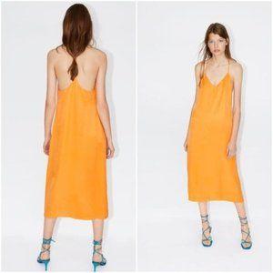Zara Fillsens Orange Midi Slip Dress